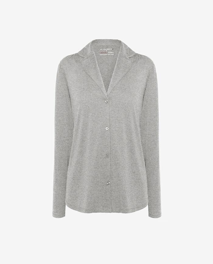 Pyjama jacket Flecked grey Latte