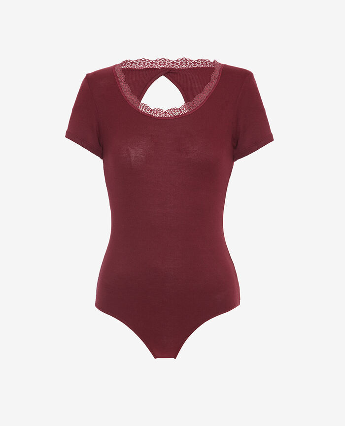 Body dos ouvert Rouge cassis Lovely