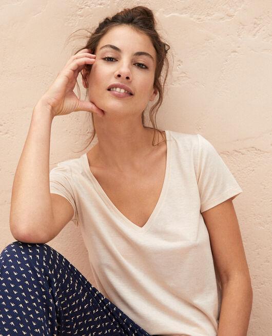 T-shirt court manches courtes col v Beige sable Latte