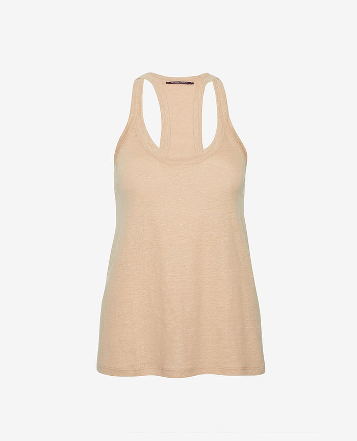 T-shirt sans manches Poudre Casual lin