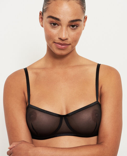 Demi-balconette bra Black Pure