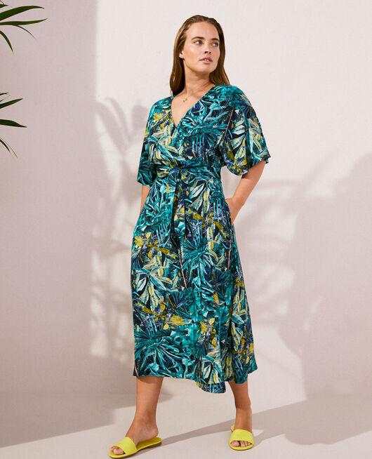 Maxi dress Blue palm Fancy viscose