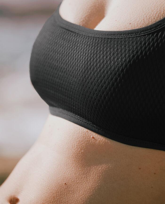 Wireless racer-back bikini top Black Nageuse