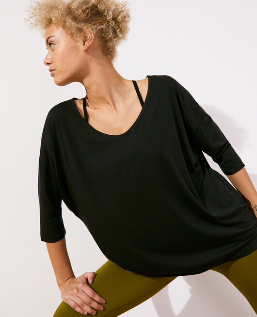 Short-sleeved sports top Black Airism