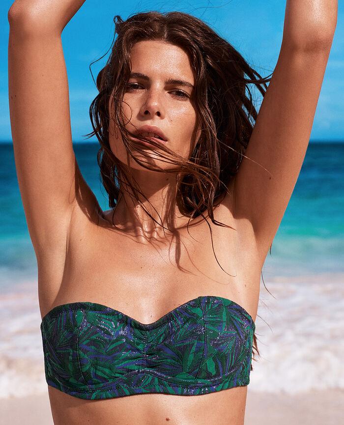 Concealed underwired strapless bikini top Navy Exotica