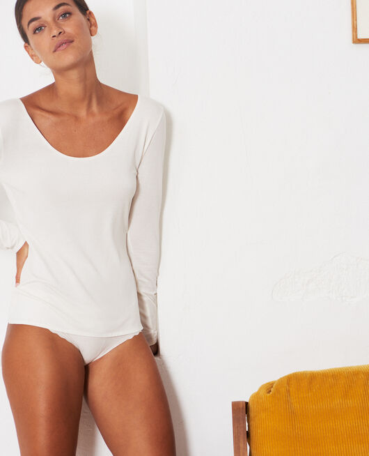Long-sleeved t-shirt Cream white Inner heattech