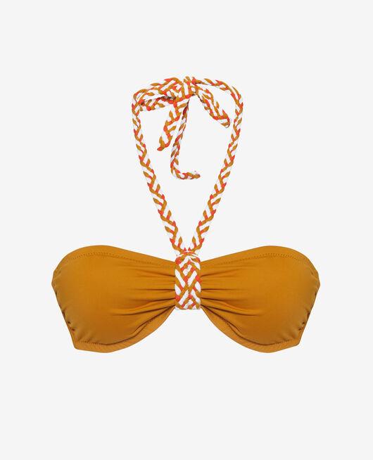 Padded strapless bikini top Cumin yellow Natte