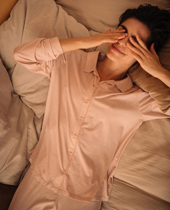 Veste de pyjama Canage beige poudre Bonne nuit print