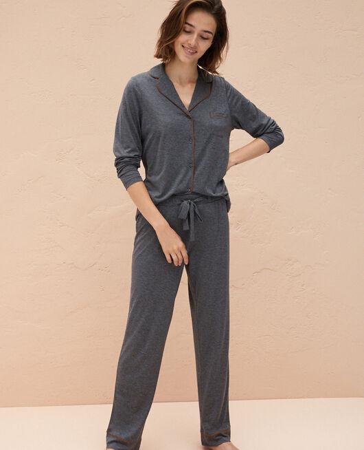 Veste de pyjama Gris chiné foncé Latte