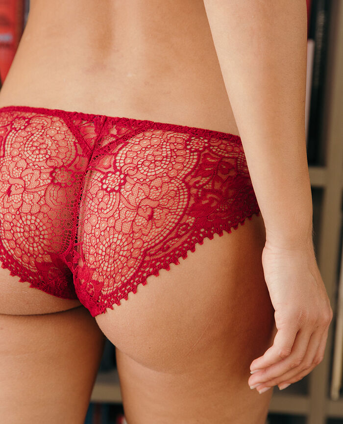Culotte taille basse Rouge camelia Chic
