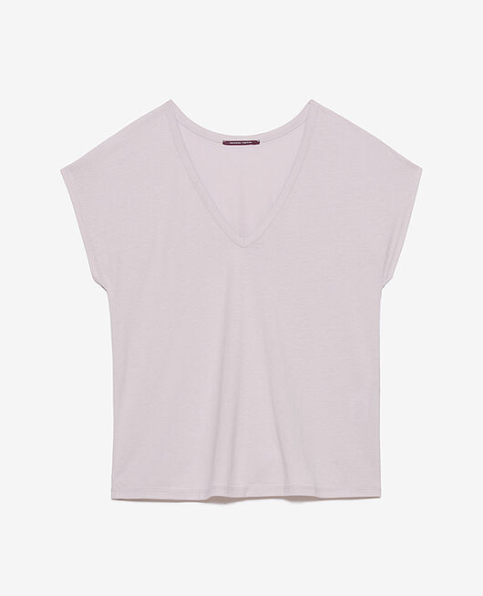 T-shirt court manches courtes col v Lavande Top collection