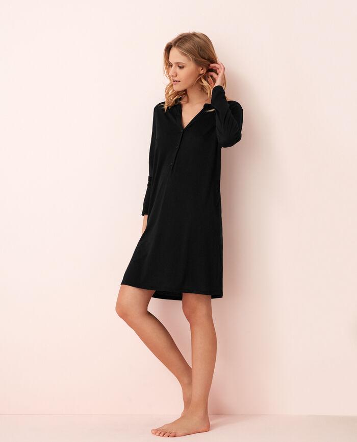 Chemise de nuit manches longues Noir Latte