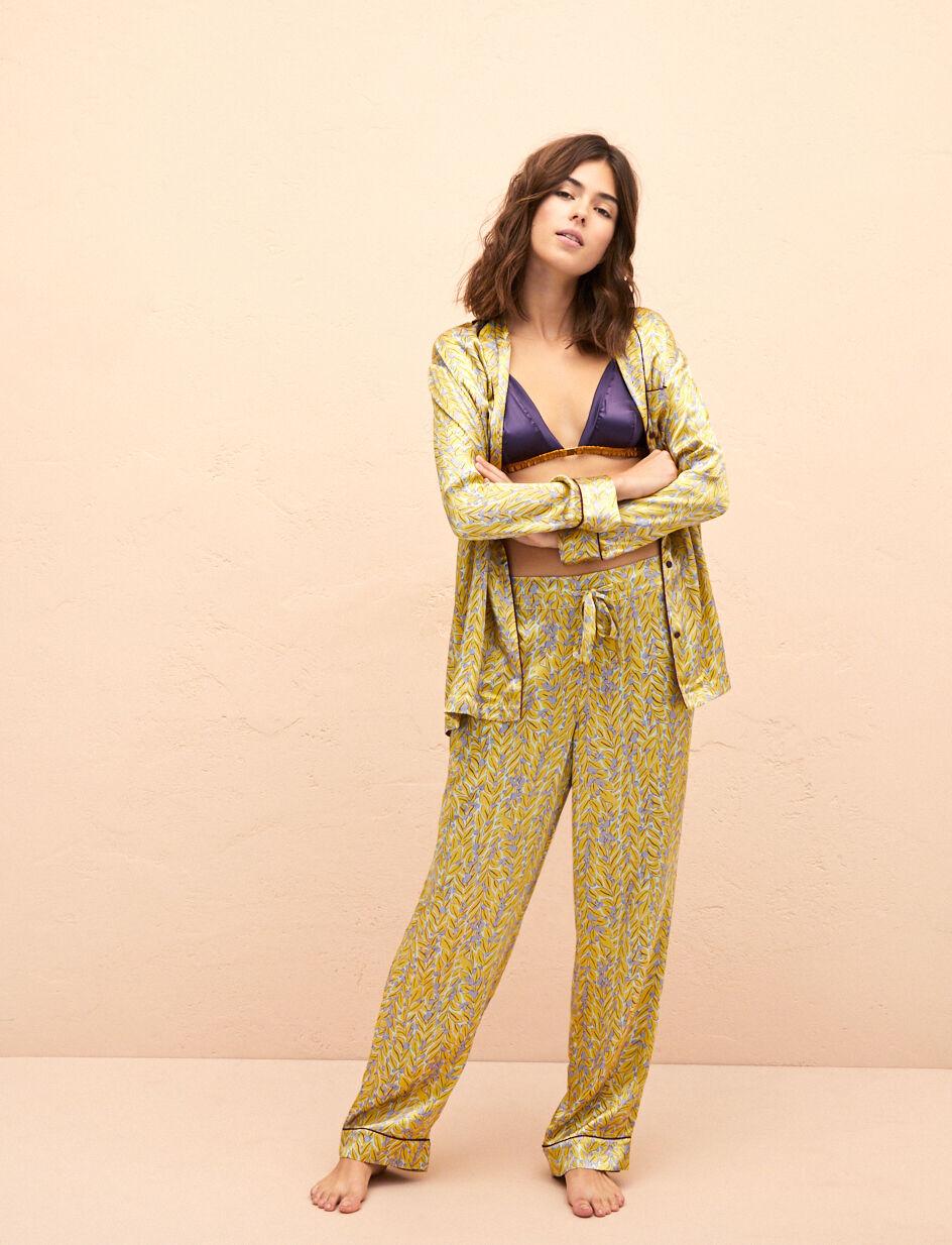 Satin Tam tam En Feuillage Femme Pyjama FoglioPrincesse Pantalon De b7vym6YgIf