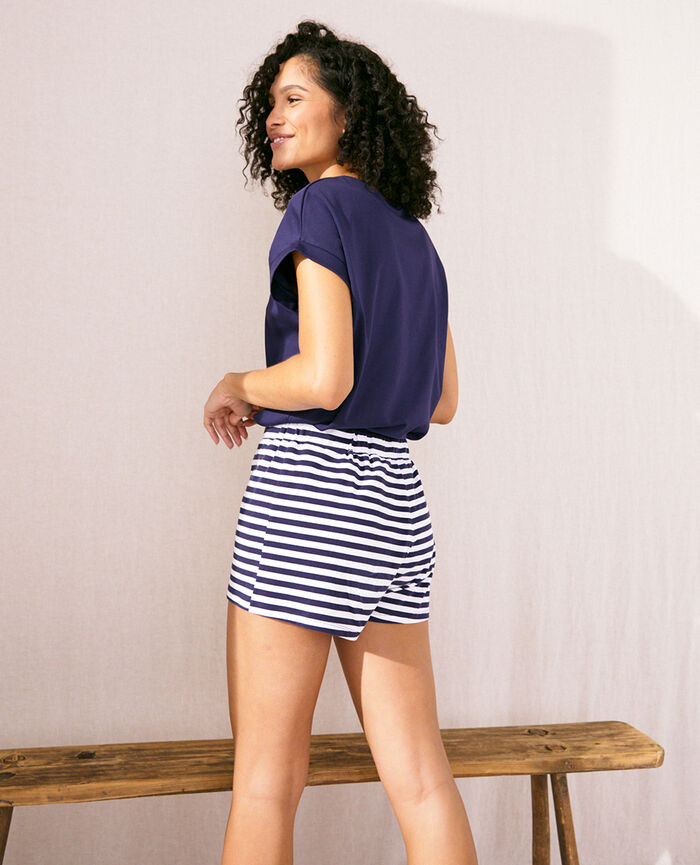 Pyjama shorts Navy blue stripe Echo