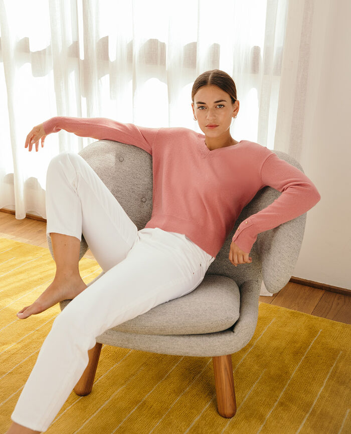 V-neck jumper Tango pink Icone