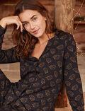 Pyjama jacket Leaves black Dimanche
