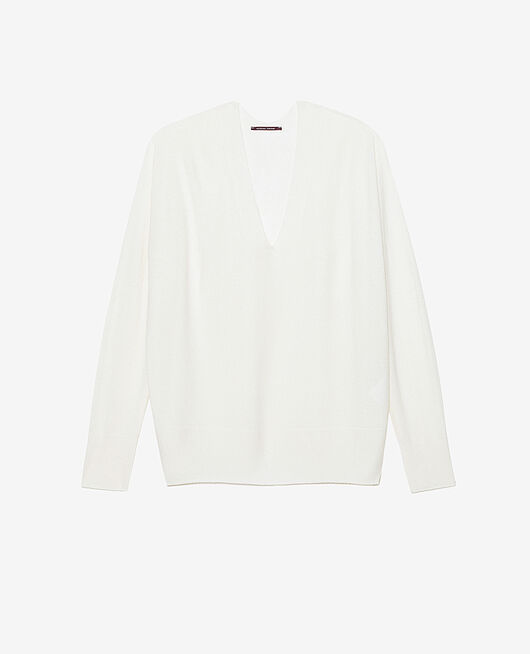 Pull col v Ivoire Cosy