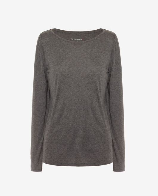 T-shirt manches longues Gris chiné foncé Latte