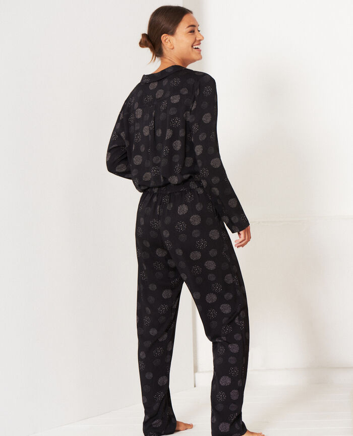 Pantalon Relief noir Attitude imprime