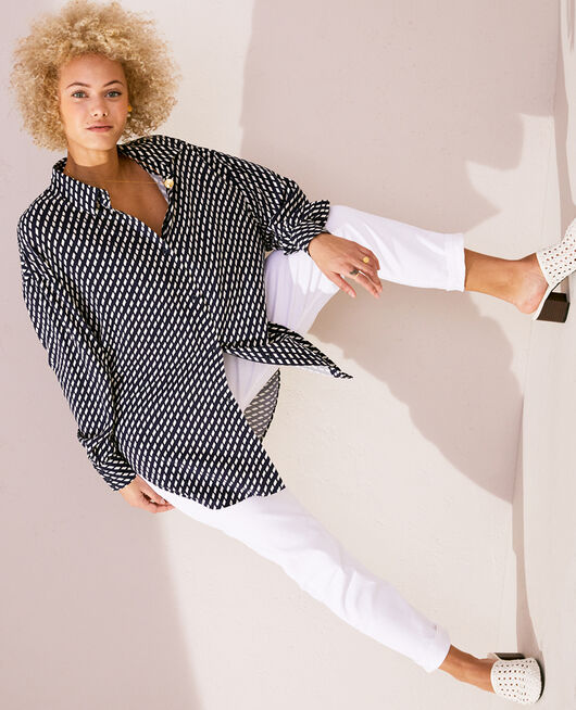 Pyjama jacket Navy blue confetti Lounge viscose