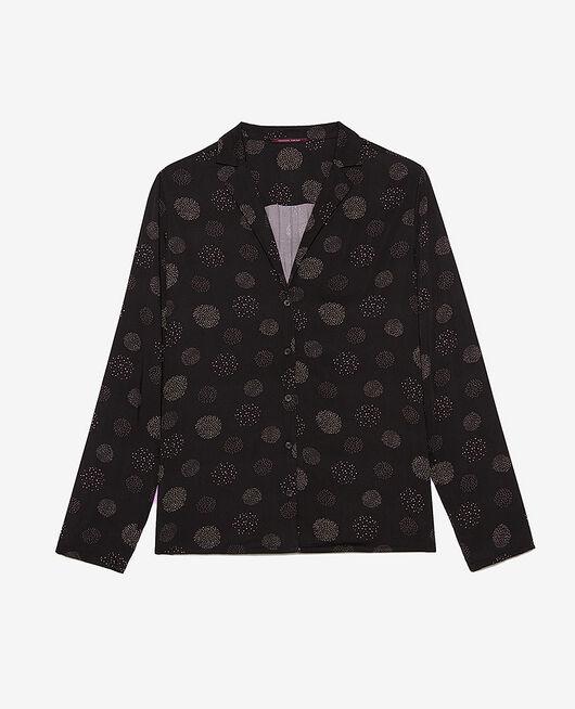 Veste de pyjama Relief noir Attitude imprime