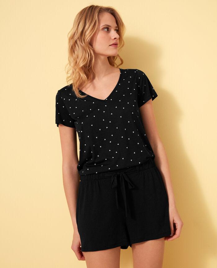 T-shirt court manches courtes col v Moonlight Latte