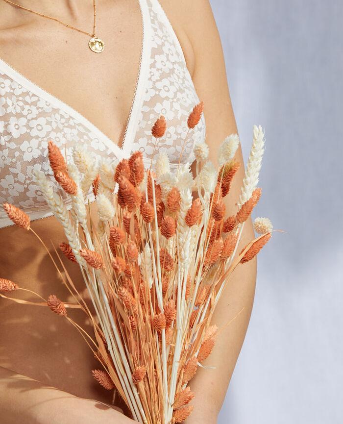 Soutien-gorge sans armatures Blanc rosé Fleurs