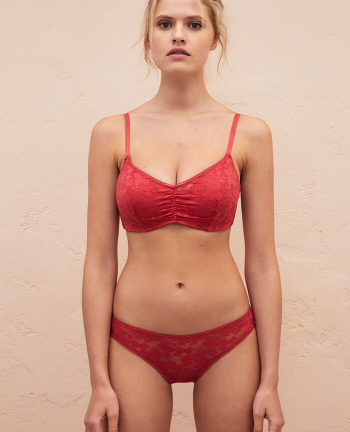Soft moulded triangle bra Peony red Lumiere