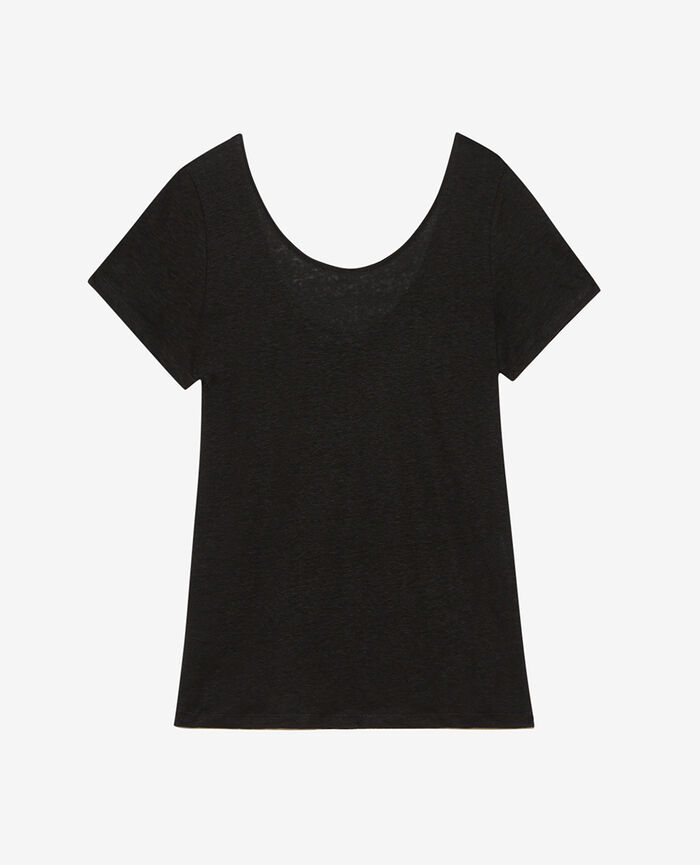 T-shirt manches courtes Noir Casual lin