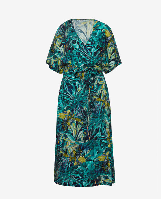 Robe longue Palme bleu Fancy viscose