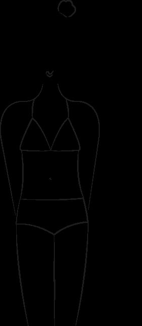 Maillot de bain morphologie V, silhouette pyramide inversée