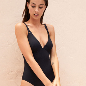 Black large cup size swimsuit