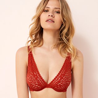 Underwired triangle bra odalisque red Monica
