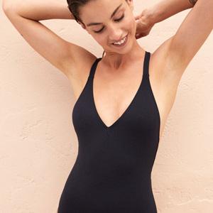 Black large cup size swimsuit Noir